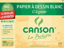 Papier à dessin 'C à Grain' CANSON 12 feuilles + 4 gratuites, 24x32cm, 180g/m²