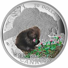 Canada 2016 Baby Animals #7 Young Porcupette & Mother Porcupine $20 Silver Proof