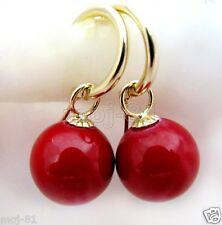 12MM Natural Coral Red South Sea Shell Pearl 14K Gold Plated Dangle Earrings