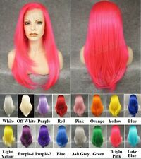 "24""Front lace long straight rose white yellow blue purple pink red synthetic wig"