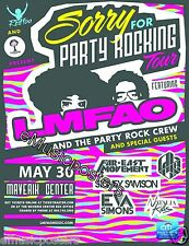 "LMFAO ""SORRY FOR PARTY ROCKING TOUR"" 2012 SALT LAKE CITY CONCERT POSTER"