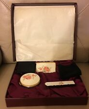 Vintage retro Stratton set enamel rose compact mirror notebook comb original box