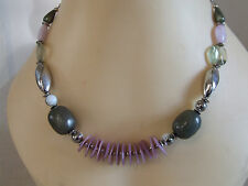 Gorgeous Strung Necklace on Cord Lilac, Graphite & Silver Tone Stones