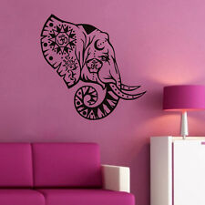 Elephant Head Wall Sticker Vinyl  Indian Pattern Removable Art Room Wall Decor