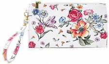 new ladies slim smooth leather floral vera pelle clutch evening bag wallet
