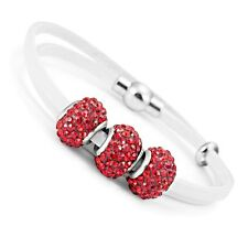 Stunning Red Cubic Zirconia Beaded White Genuine Leather Wrap Bracelet