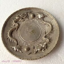 Collectible Decorate Old Tibet Silver China double dragon ball Coin Plate