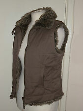 Monsoon Brown Fur Reversible Gilet Bodywarmer Size UK 10 EUR 38