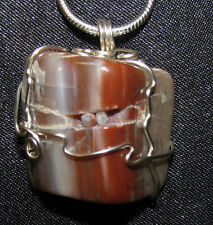 AZ Petrified Wood wire wrap snake chain necklace natural stone pendant polished