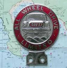 Genuine Enamel Vintage Car Mascot Badge : All Wheel Drive Limited