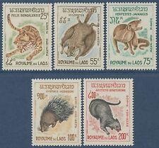 LAOS PA N°47/51**  Animaux, tigre,hylopète,Herpeste,Porc-Epic..., TB, 1968,  MNH