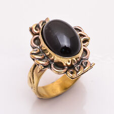 Natural Black Onyx Gemstone Ring Size US 9, Antique Brass Jewelry BRR135