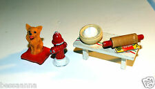 Old Dollhouse DH063203 Fire Hydrant and Dog Pillow Dough Board Rolling Pin Lot