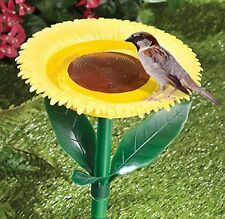 Plastic Sunflower Garden Bird Bath Feeder Wild Birds Drink Water Novelty Stand