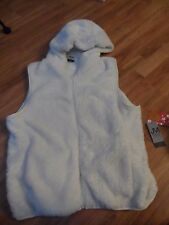 womens plus size 1X 2X 3X ~ fuzzy vest ~ cream color zip up front/2 pockets