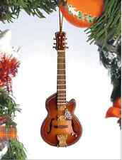 "GUITAR WOODEN BROWN WITH FLOWER DESIGN 4"" MUSICAL INSTRUMENT CHRISTMAS ORNAMENT"