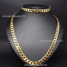 """Stamped 24KGL 24K Yellow Gold Filled 24""""+8.5"""" Chain Necklace Bracelet CA S18"""