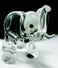 Elephant Crystal Blown Glass Animal Figurine Clear Hand Crafts Gift Collectible