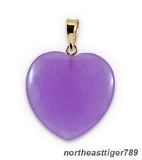 Purple Jade Love Heart 18KGP Pendant and Necklace