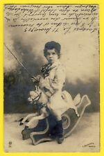 cpa Cachet Stamp SASSARI PORTOTORRES 1903 ENFANT sur CHEVAL de BOIS Jouet Toy