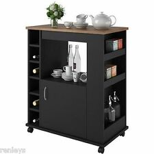 Kitchen Island Cart Portable Rolling Utility Storage Cabinet Shelves Wood NEW