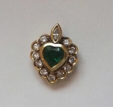 18Ct Yellow Gold Emerald and Diamond Heart Pendant