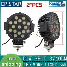 2pcs 7INCH 51w EPISTAR LED light DRIVING JEEP 4X4 SPOT offroad TRUCK ROUND BLACK