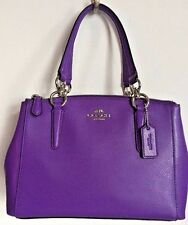 NWT Coach 36704 Mini Christie Carryall Crossgrain Leather handbag Purple