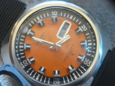 "RARE ""SEIKO"" 6106 7107 ORANGE DAY & DATE DIVER'S 17J. AUTOMATIC  HACK TIME WATCH"