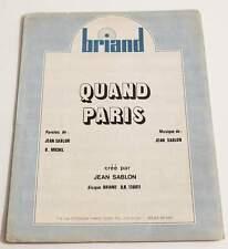 Partition sheet music JEAN SABLON : Quand Paris * 70's