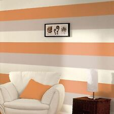 3 COLOUR STRIPED TEXTURED DESIGNER WALLPAPER ORANGE COFFEE CREAM E40915