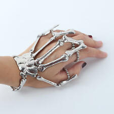 Hand Chain Silver Tone Skull Fingers Metal Skeleton Slave Bracelet Ring Bangle