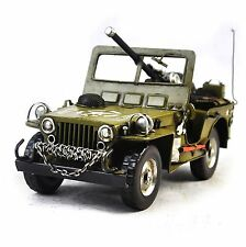 Handmade1940 Military Vehicle Jeep Off-Road 1:12 Antique Style Metal Model