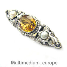Jugenstil plata broche art nouveau Silver Brooch Citrine pedrería paste