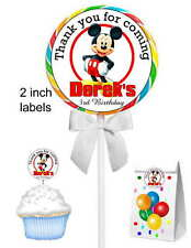 40 MICKEY MOUSE BIRTHDAY PARTY LOLLIPOP STICKERS
