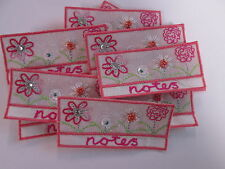 Pack of 10 - Pink Flower Embroidered Notes Note Book Crafts Making Motifs #27A64