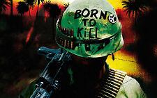 Encadrée Imprimer-né pour tuer! nous marine (photo poster art guerre du vietnam soldat)