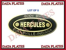 5X New Hercules Body Builders Etched Genuine Brass Data Plate Evansville Indian