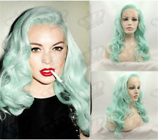 Ladies Pastel Mint Green Heat Resistant Glueless Wavy Synthetic Lace Front Wig