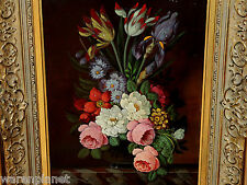 Oskar Denner OLIO DIPINTO anziano fasto natura morta fiori 56x46cm quadro PLATINI