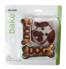 Dexam Dog & Bone 3 Piece Cookie Cutter Set Biscuit Pastry Craft Children Baking