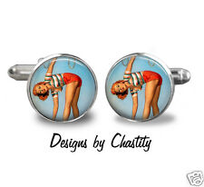 Pinup Cufflinks Glass Art Cuff links Bent Over VTG Red Hot Super Short Shorts