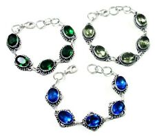Diopside With Multi Faceted Quartz Wholesale Lot 5Pc 925 Silver Overlay Bracelet