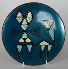 Patricia Fisher Enamel Plate Turquoise Cat 1958 Mid Century Modern Eames Era
