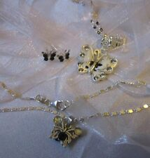 "STERLING SILVER CHAIN18""+STUD EARINGS&ANKLET/BUTTERFLY."