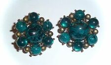 VINTAGE - MARBLED BLUE & ANTIQUE GOLD CLUSTER CLIP-ON EARRINGS