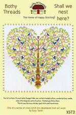 Bothy threads oiseaux doivent nous nid ici coeur arbre Compté Cross Stitch Kit 2015