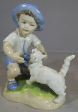 ROYAL WORCESTER MONTHS OF THE YEAR FIGURINE SEPTEMBER 3457 BOY WITH CAT DOUGHTY