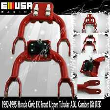 1992-1995 Honda Civic CX DX VX Hatchback Front Upper Tubular ADJ.Camber Kit RED