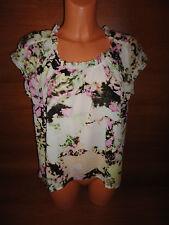* Womens Sz M CK CALVIN KLEIN Blouse Top Shirt Pink Green Floral Short Sleeve